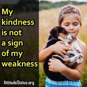 Kindness 1 line attitude status in english