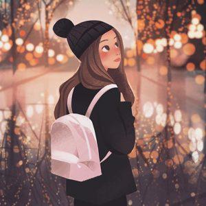 girl walking with bag dp